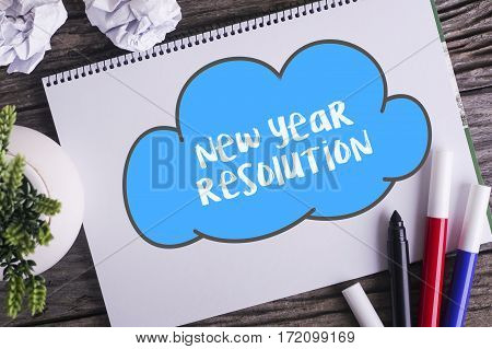 Notepad And Green Plant On Wooden Background With New Year Resolution Word.