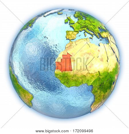 Mauritania On Isolated Globe