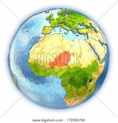 Niger On Isolated Globe