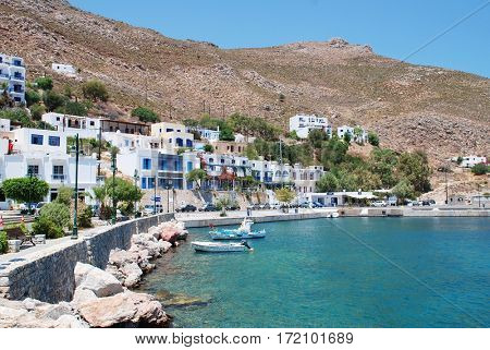 TILOS, GREECE - JULY 19, 2017: Livadia harbour on the Greek island of Tilos. The 14.5km long Dodecanese island has a population of around 780 people.