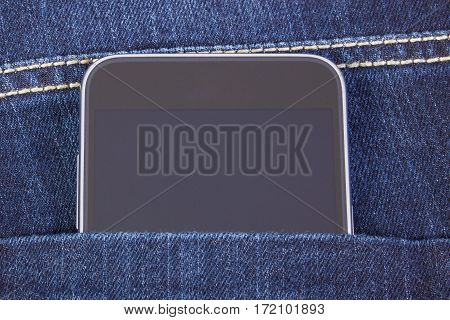 Mobile Phone With Blank Screen In Pocket Jeans, Smartphone