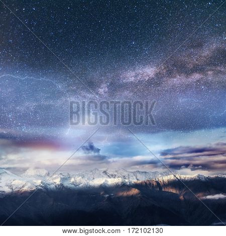 Dairy Star Trek in the winter woods. Dramatic and picturesque scene. Beautiful scenic sky on lightning. Europe.