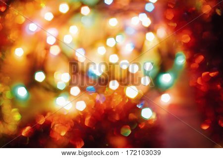 Christmas toys background. Abstract background with colorful bokeh background. In anticipation of the holiday.