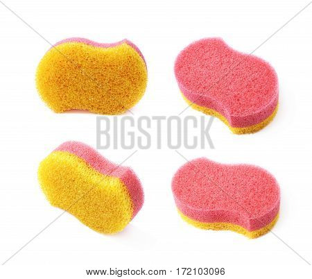 Red and yellow colored bath sponge isolated over the white background, set of four different foreshortenings