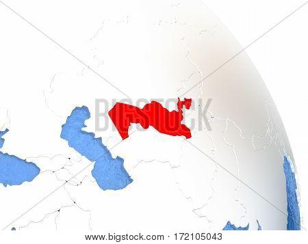 Uzbekistan On Elegant Globe