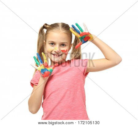 Cute little girl with hands in paint isolated on white