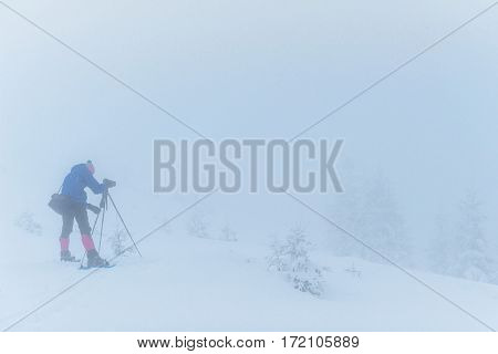 tourist in winter mountains. Happy New Year. Carpathian, Ukraine Europe