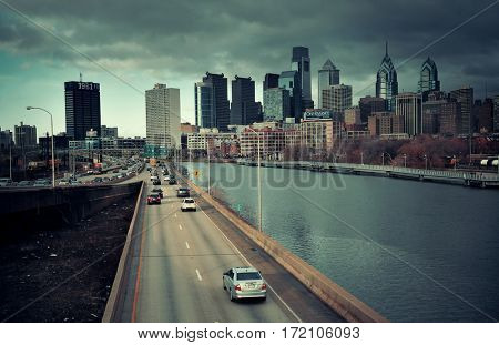 PHILADELPHIA, PENNSYLVANIA - MAR 26: city skyline with highway traffic on March 26, 2015 in Philadelphia. It is the largest city in Pennsylvania and the fifth in the United States.
