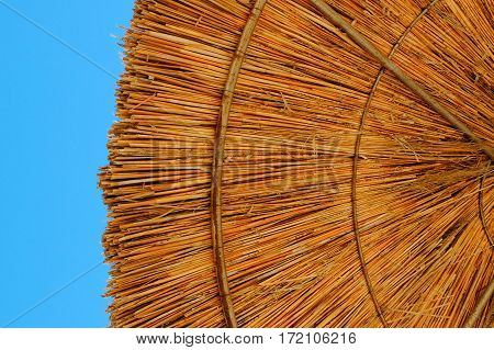 Beach umbrella made of straw at blue sky background, close up, copy space, colorful photo, summertime.