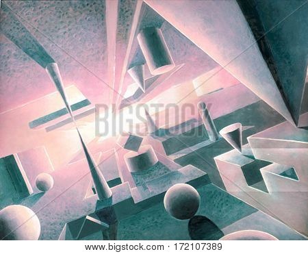 three dimensional space with abstract shapes of sphere pyramid cube and cone
