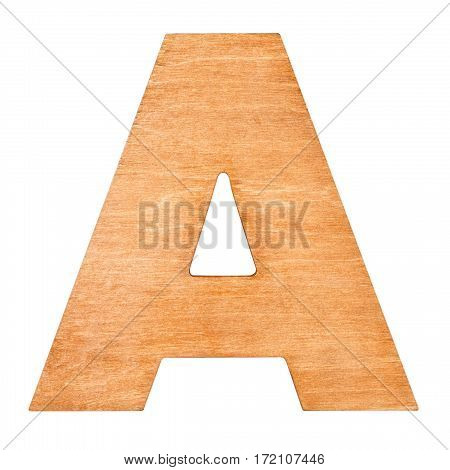 Old wooden letter A on wooden background. One of full alphabet wooden set