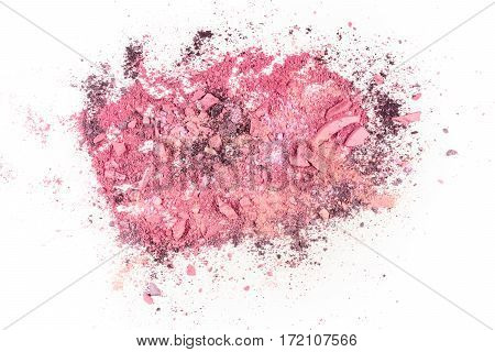 Abstract background texture with vibrant pink makeup powder, shot from above