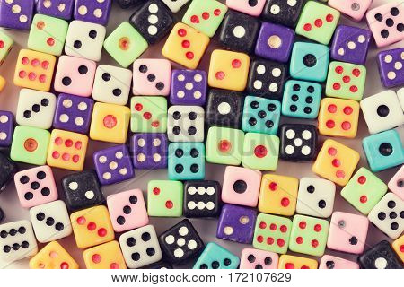 Gambling dice background. Casino gambling concept. Above view