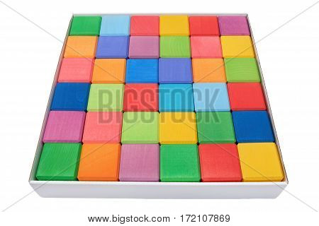 Box of colorful wooden blocks isolated on white background