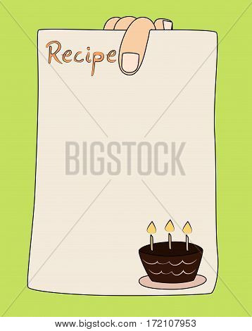 Vector cartoon hand holding recipe card template with cake.