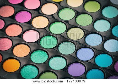 Closeup of makeup eye shadow palette. Make up texture