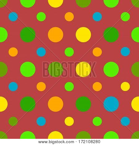Polka dots seamless pattern with different colors dots on red background. Can be used for wrapping paper, fabric. Vector illustration