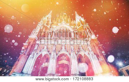 Church St. Joseph in Krakow, Photo greeting card. Bokeh light effect, soft filter. Poland