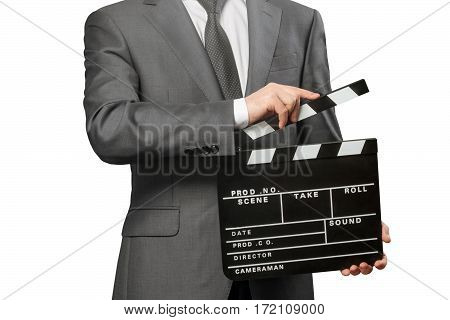 Man holding movie clapper board isolated on white background
