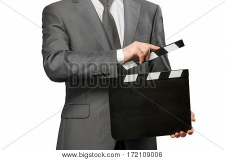 Man holding blank movie clapper board isolated on white background
