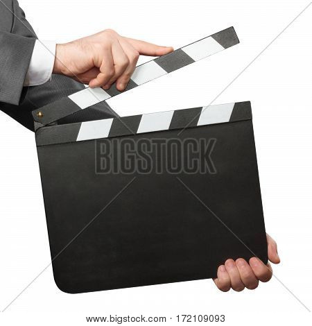 Hands holding blank movie clapper board isolated on white