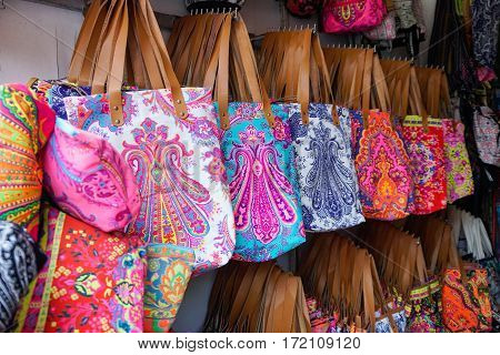 Colorful Bags at Market in Thailand, Samui island