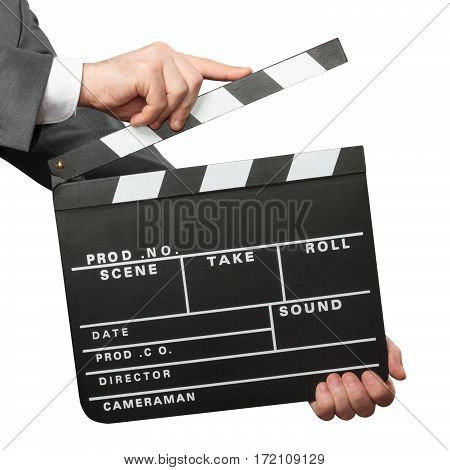 Closeup of male hands holding movie clapper board isolated on white background