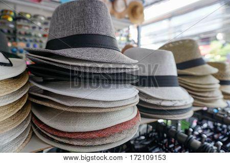 Hats at Market in Thailand, Samui island