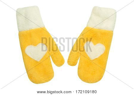 Yellow mittens with heart symbol on white isolated. Flat lay