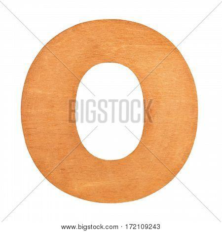 Vintage wooden letter O on wooden background. Wooden vintage letter. One of full alphabet wooden set