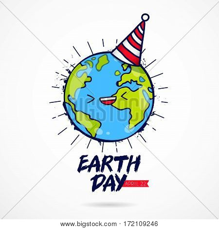 Earth Day. April 22 calligraphy. Blue planet with a celebratory cap. Vector illustration on white background.