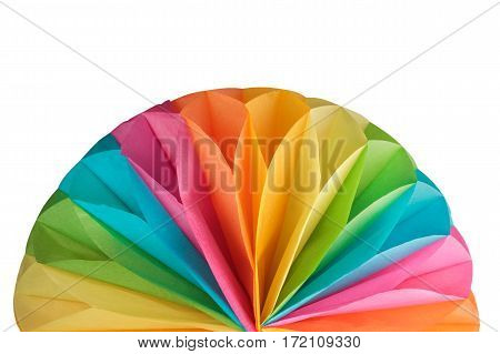 Colorful paper rainbow figure isolated on white background
