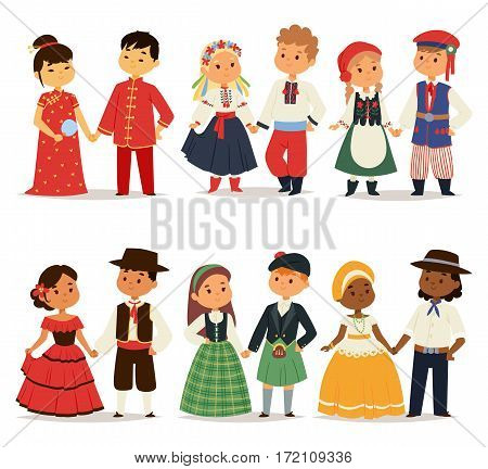Traditional kids couples character of world dress girls and boys in different national costumes and cute little children nationality dress vector illustration. Cultural friendship child ethnic group.