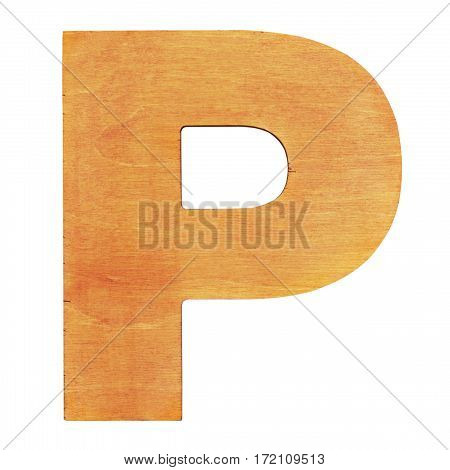 Old wooden letter P on wooden background. One of full alphabet wooden set