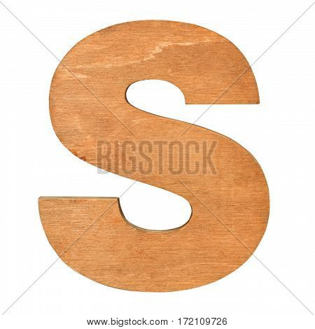 Old wooden letter S on wooden background. One of full alphabet wooden set