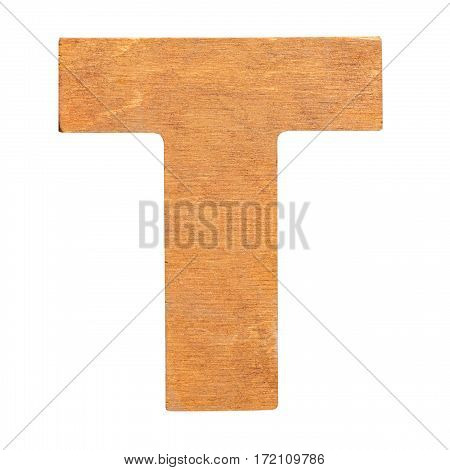 Old wooden letter T on wooden background. One of full alphabet wooden set
