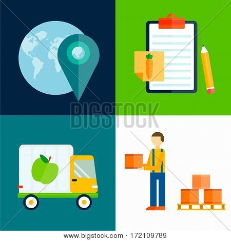 Import export fruits and vegetables delivery vector icons set. Shipping shop commerce container sign. Organic food distribution package illustration.
