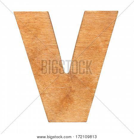 Old wooden letter V on wooden background. One of full alphabet wooden set