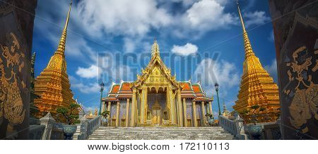 Golden pavilion in Wat Phra Kaew Temple of the Emerald BuddhaGrand palace in Bangkok Thailand