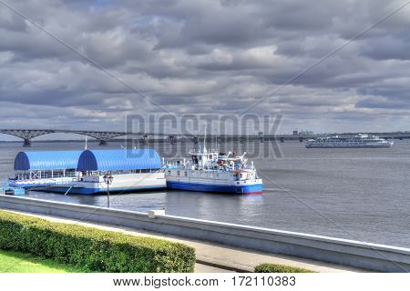 SARATOV RUSSIA - September 09.2016: Municipal embankment of Cosmonauts with moorages
