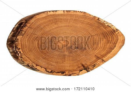 Wooden cutting board isolated on white background. Wooden tray.