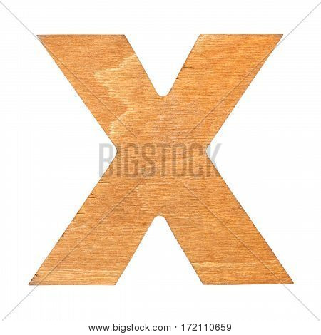 Old wooden letter X on wooden background. One of full alphabet wooden set
