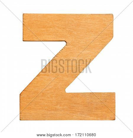Old wooden letter Z on wooden background. One of full alphabet wooden set
