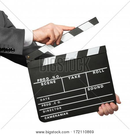 Closeup of hands holding movie clapper board isolated on white background
