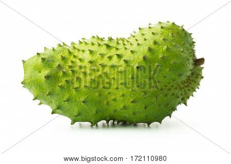 Close up of fresh soursop fruit over white background