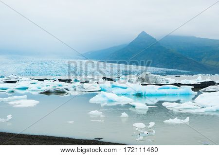 Icebergs In The Glacial Lake. Vatnajokull Glacier, Iceland