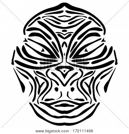 Vector illustration of a abstract lurid African mask.