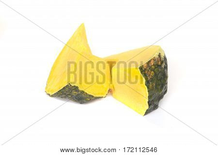 Pumpkin slice isolated on white background .