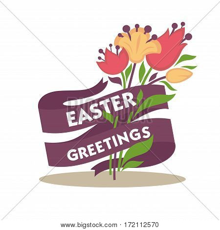 Easter greetings conceptual banner. Spring flowers decorated with purple tape ribbon with congratulations text. Vector illustration of greeting card for religious holiday in flat style design