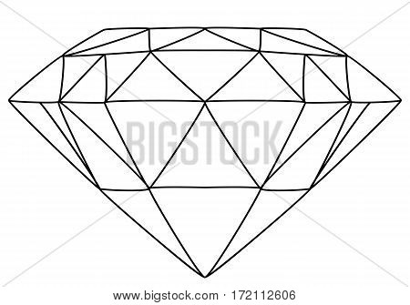 Vector illustration of diamond line drawing white background.